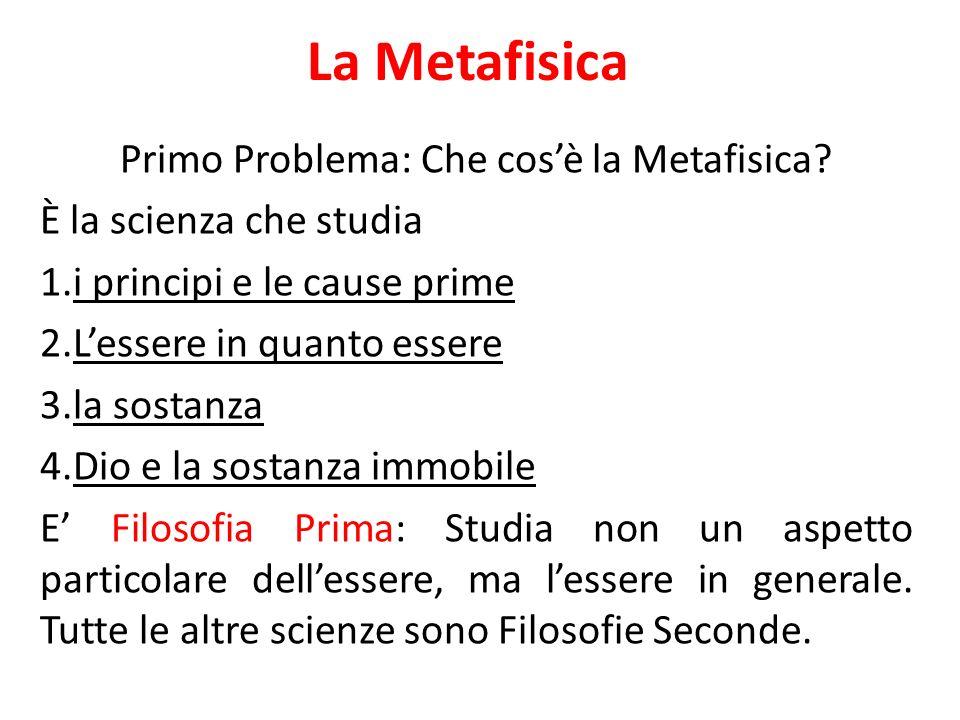 Primo Problema: Che cos'è la Metafisica