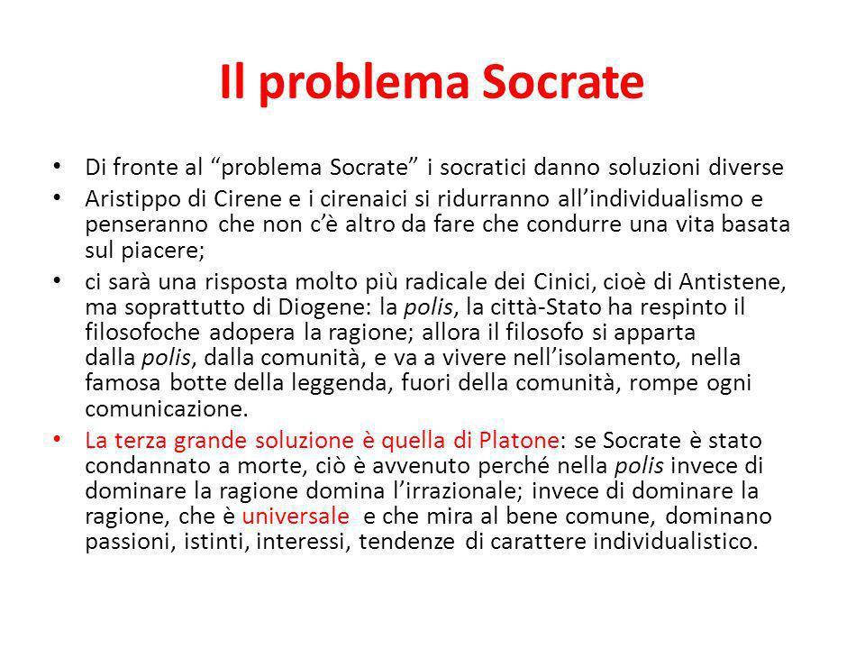 Il problema Socrate Di fronte al problema Socrate i socratici danno soluzioni diverse.