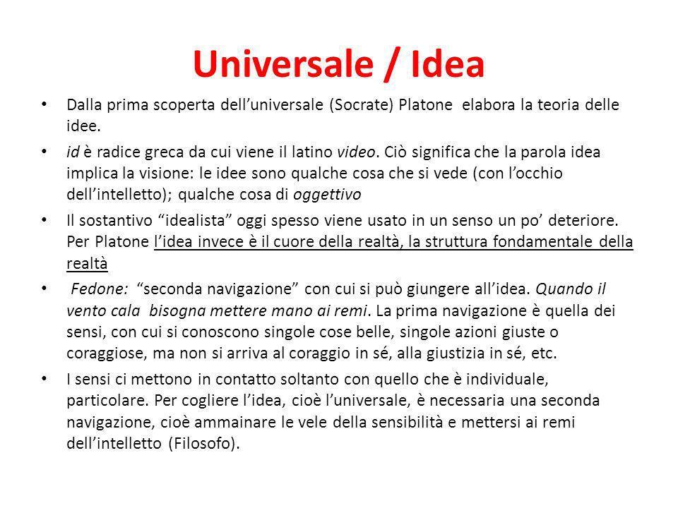 Universale / Idea Dalla prima scoperta dell'universale (Socrate) Platone elabora la teoria delle idee.