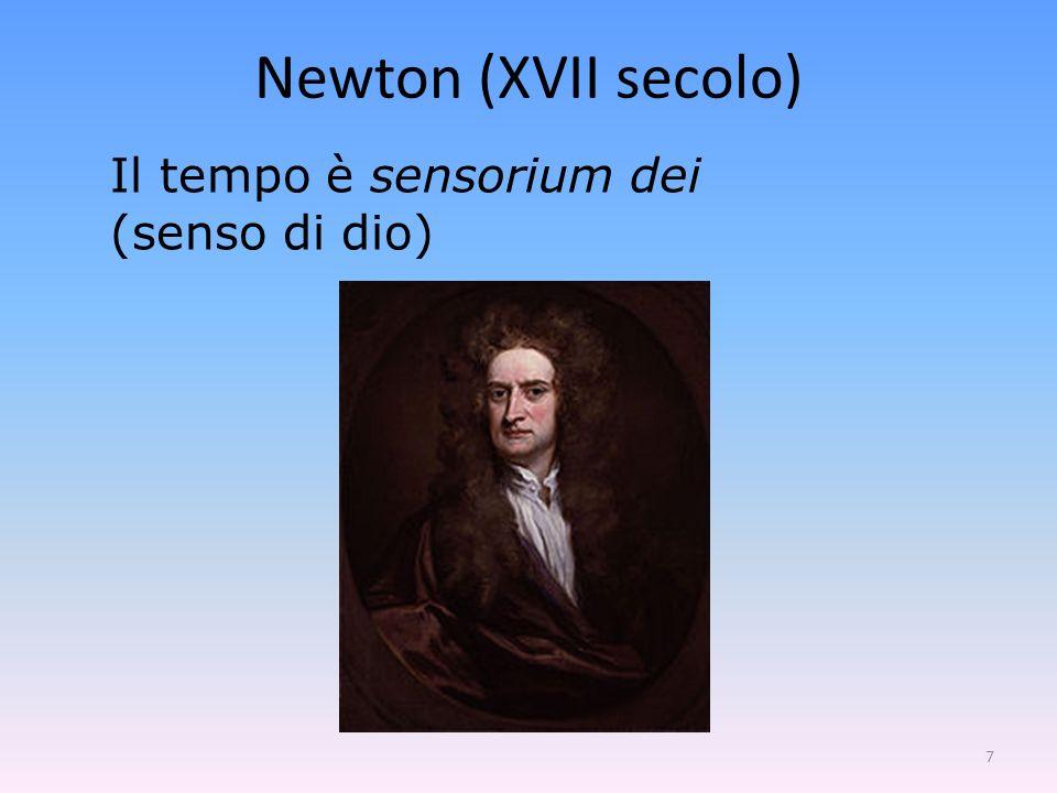 Newton (XVII secolo) Il tempo è sensorium dei (senso di dio)