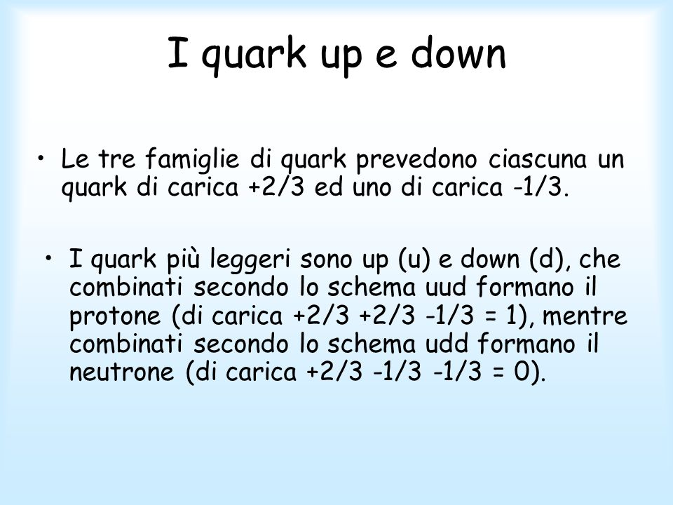 I quark up e down Le tre famiglie di quark prevedono ciascuna un quark di carica +2/3 ed uno di carica -1/3.