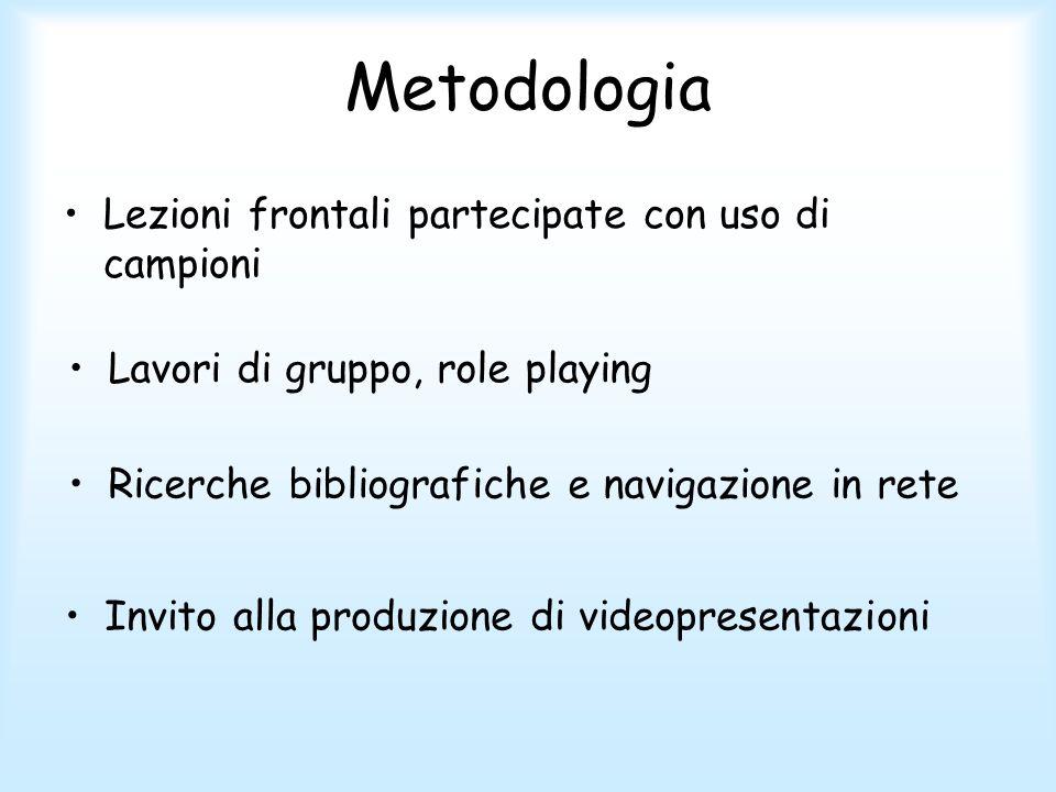 Metodologia Lezioni frontali partecipate con uso di campioni