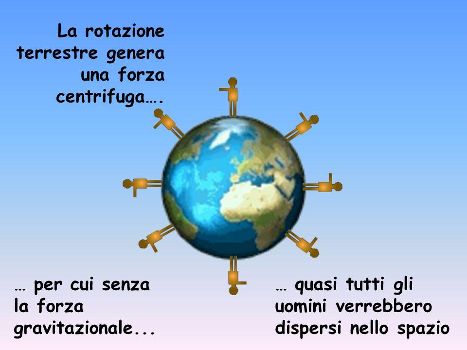 La rotazione terrestre genera una forza centrifuga….