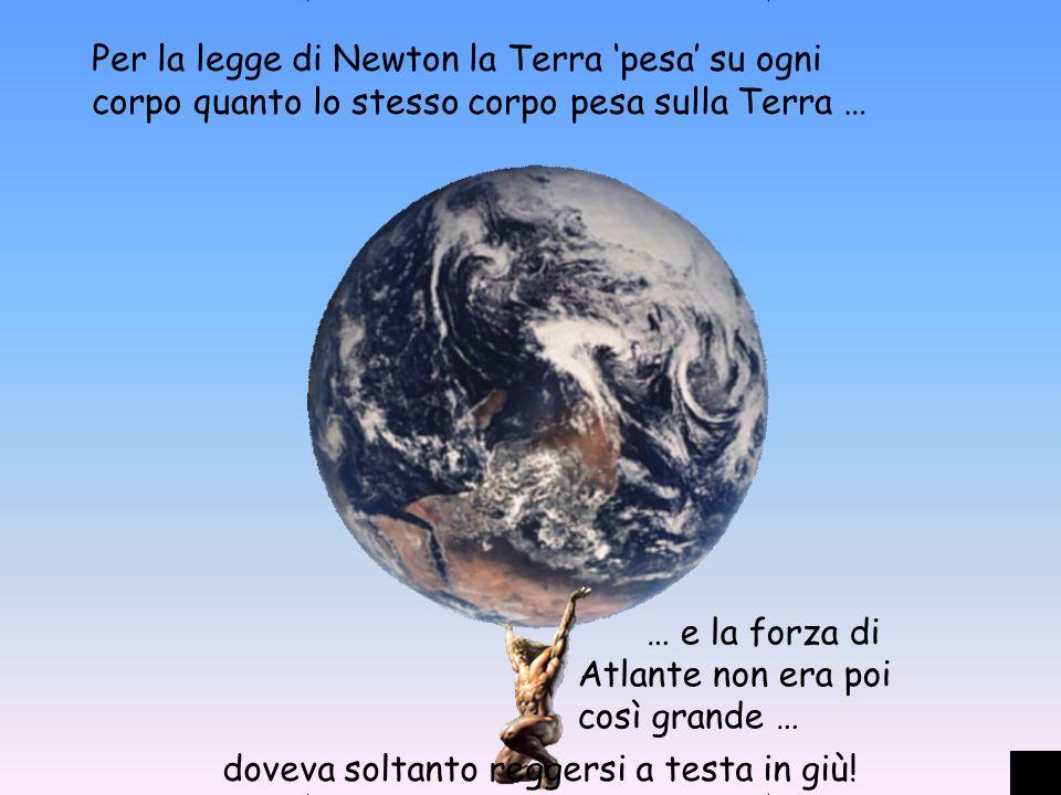 Per la legge di Newton la Terra 'pesa' su ogni corpo quanto lo stesso corpo pesa sulla Terra …