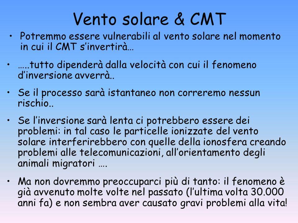 Vento solare & CMT Potremmo essere vulnerabili al vento solare nel momento in cui il CMT s'invertirà…