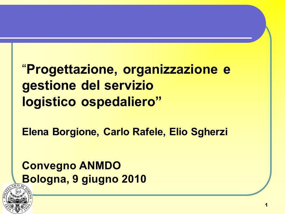 Progettazione, organizzazione e gestione del servizio logistico ospedaliero Elena Borgione, Carlo Rafele, Elio Sgherzi