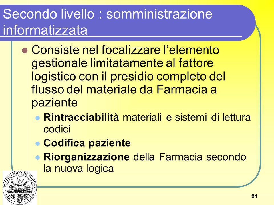 Secondo livello : somministrazione informatizzata