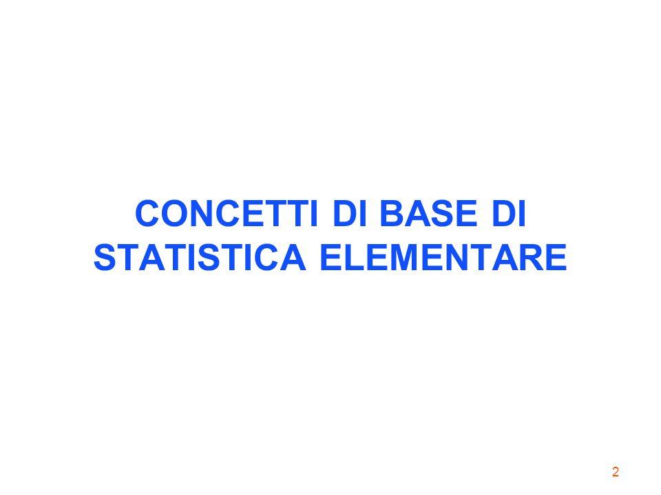 CONCETTI DI BASE DI STATISTICA ELEMENTARE