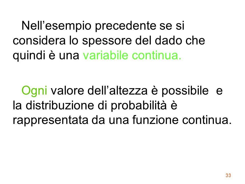 Nell'esempio precedente se si considera lo spessore del dado che quindi è una variabile continua.