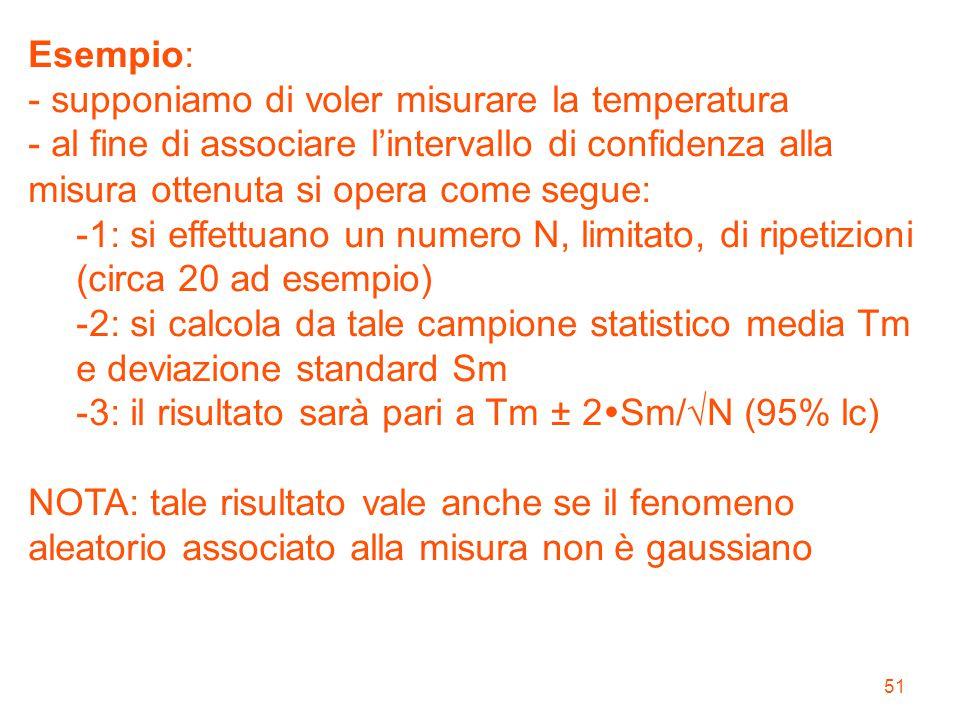 Esempio: - supponiamo di voler misurare la temperatura. - al fine di associare l'intervallo di confidenza alla misura ottenuta si opera come segue: