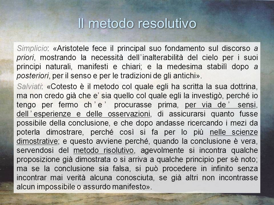 Il metodo resolutivo