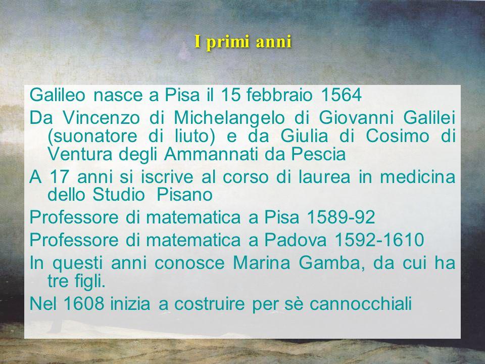 I primi anni Galileo nasce a Pisa il 15 febbraio 1564.