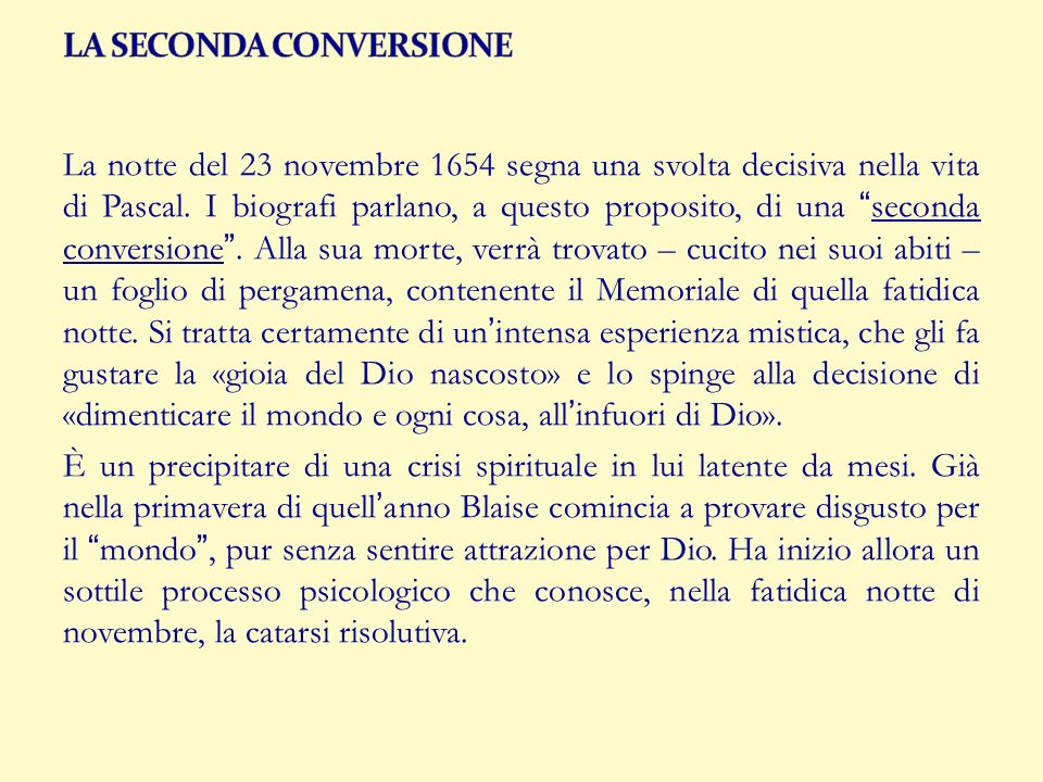 LA SECONDA CONVERSIONE