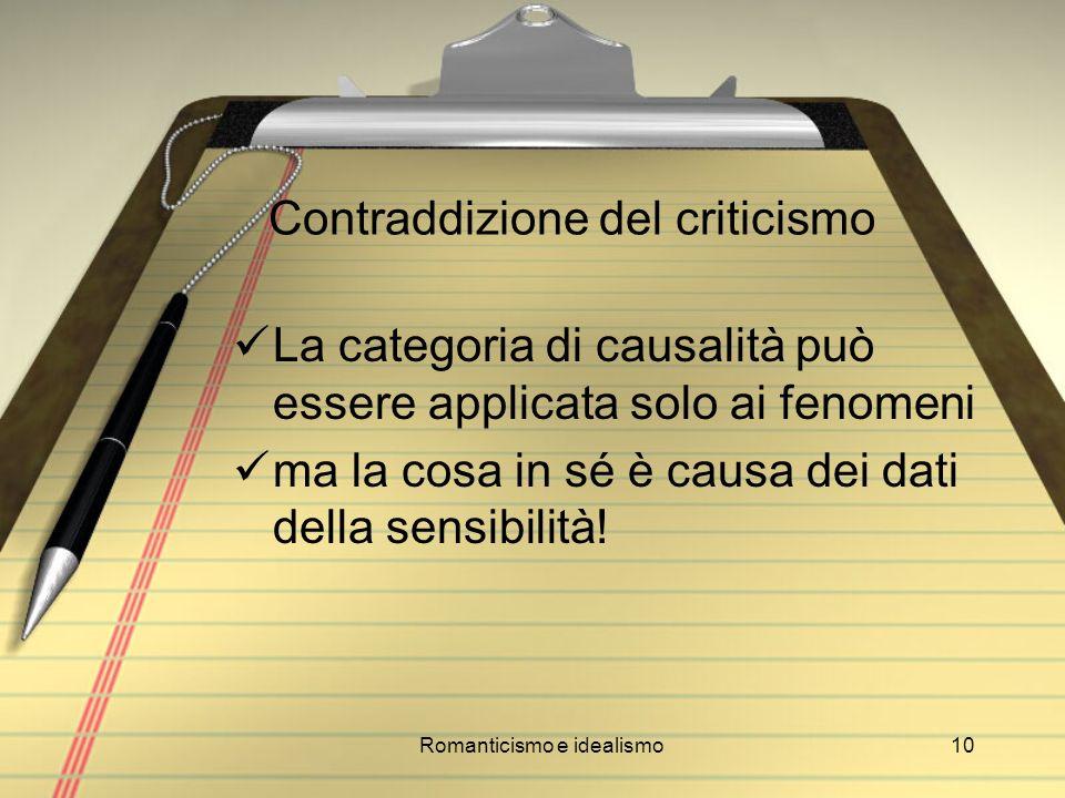 Contraddizione del criticismo