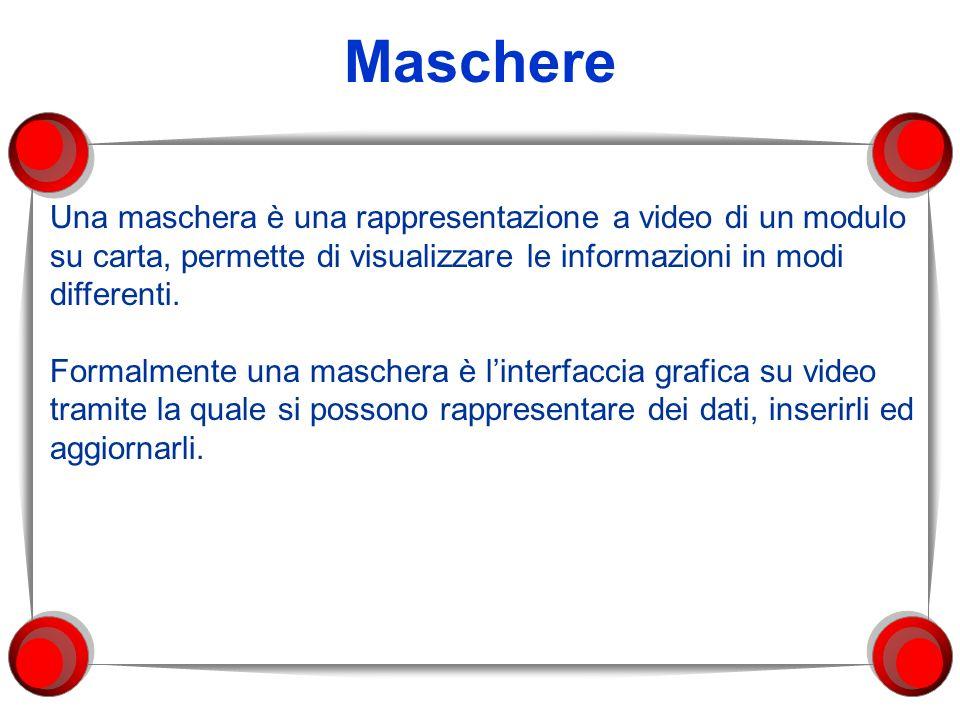 Maschere Una maschera è una rappresentazione a video di un modulo su carta, permette di visualizzare le informazioni in modi differenti.