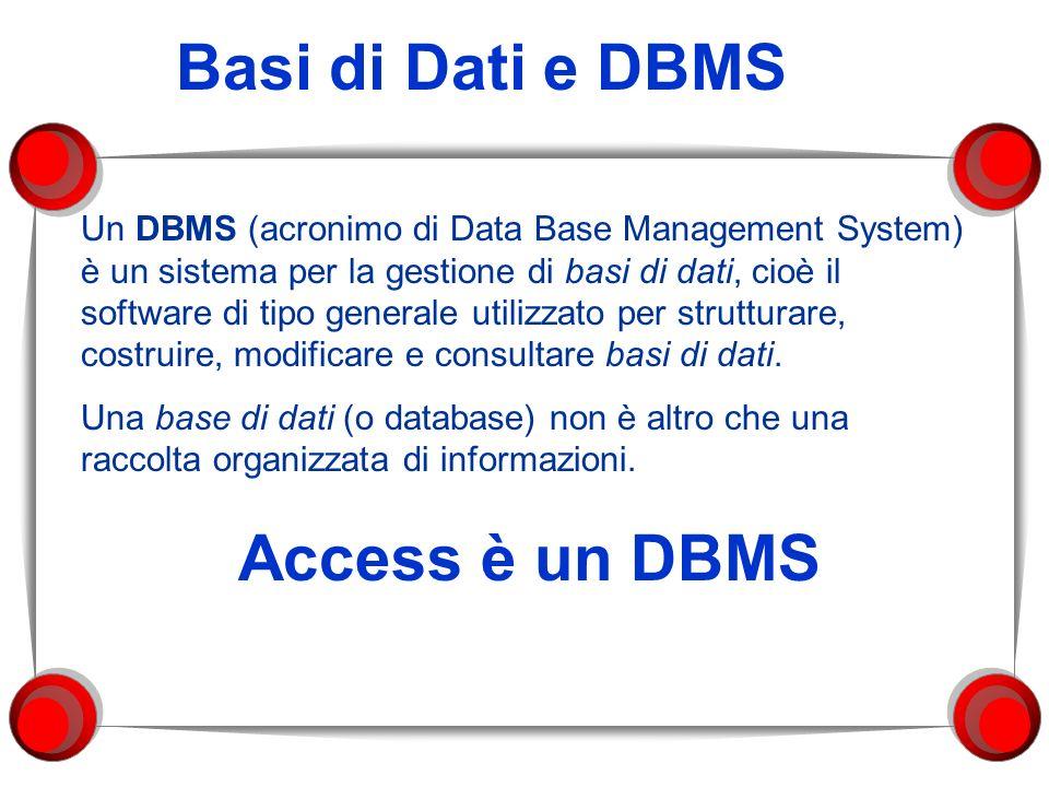 Basi di Dati e DBMS Access è un DBMS