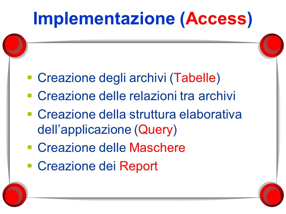 Implementazione (Access)