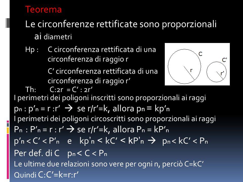 Le circonferenze rettificate sono proporzionali ai diametri