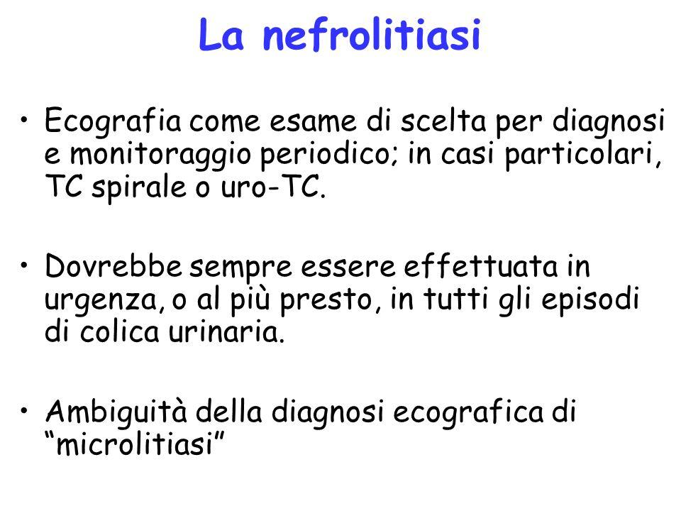 La nefrolitiasi Ecografia come esame di scelta per diagnosi e monitoraggio periodico; in casi particolari, TC spirale o uro-TC.