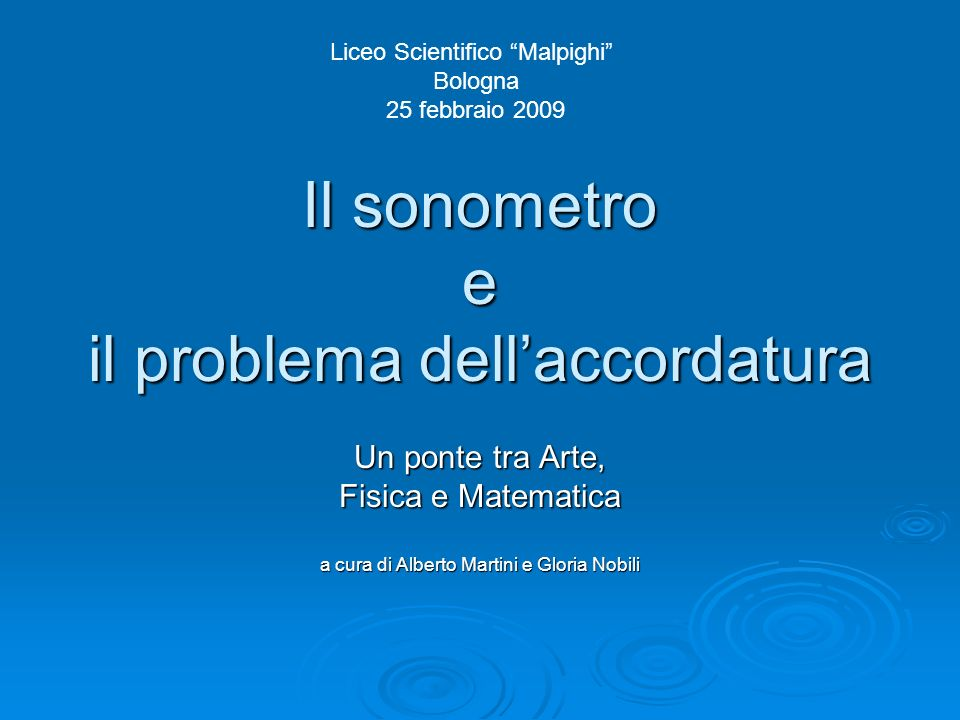 Il sonometro e il problema dell'accordatura