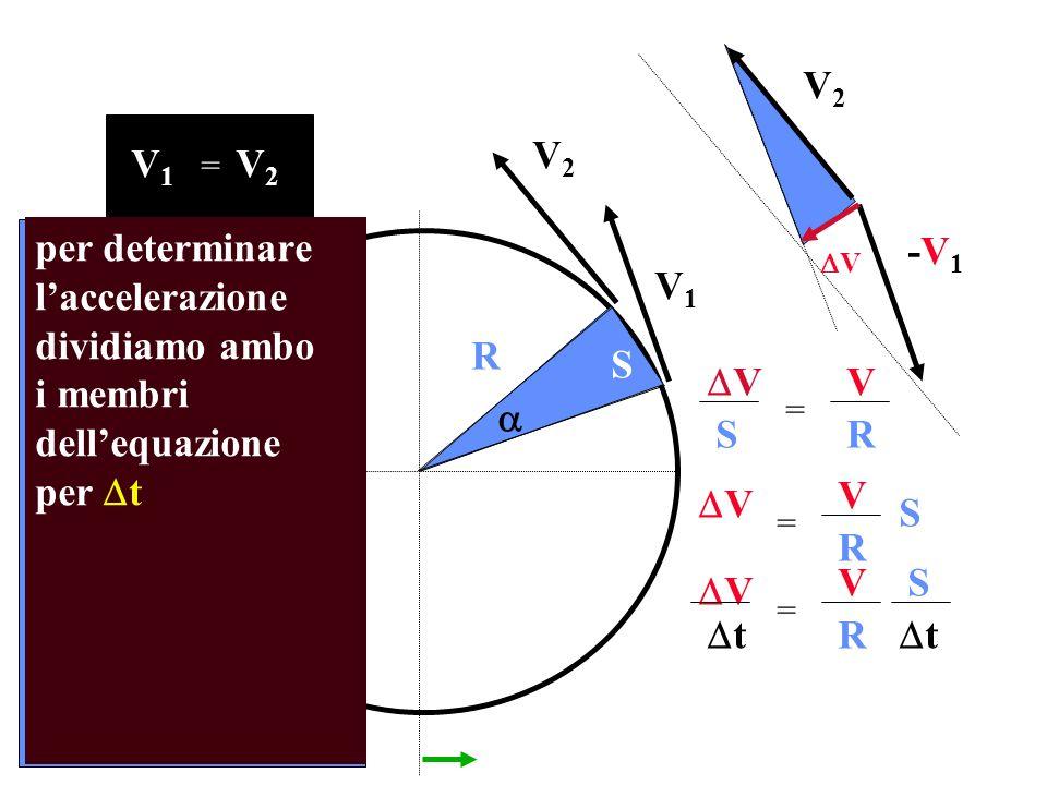 V2 V2 V1 V2 per determinare l'accelerazione dividiamo ambo i membri