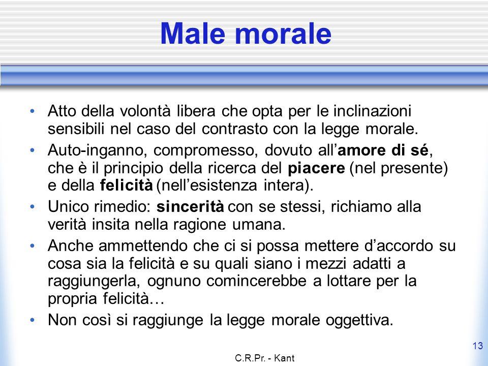 Male morale Atto della volontà libera che opta per le inclinazioni sensibili nel caso del contrasto con la legge morale.