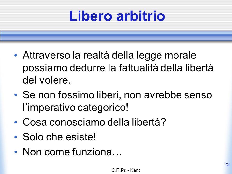 Libero arbitrio Attraverso la realtà della legge morale possiamo dedurre la fattualità della libertà del volere.