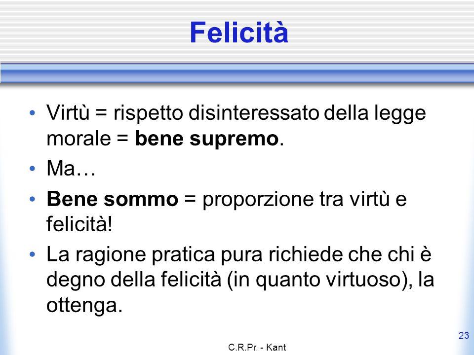 Felicità Virtù = rispetto disinteressato della legge morale = bene supremo. Ma… Bene sommo = proporzione tra virtù e felicità!