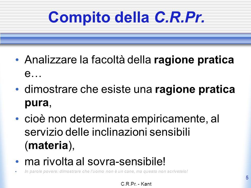 Compito della C.R.Pr. Analizzare la facoltà della ragione pratica e…