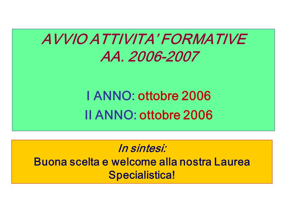 I ANNO: ottobre 2006 AVVIO ATTIVITA' FORMATIVE AA. 2006-2007