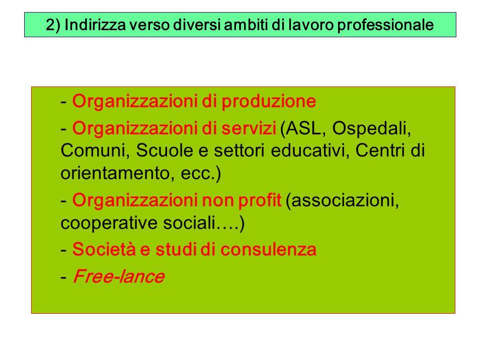 2) Indirizza verso diversi ambiti di lavoro professionale