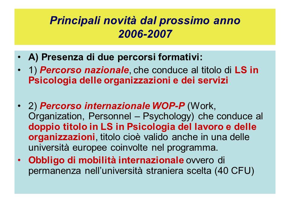 Principali novità dal prossimo anno 2006-2007