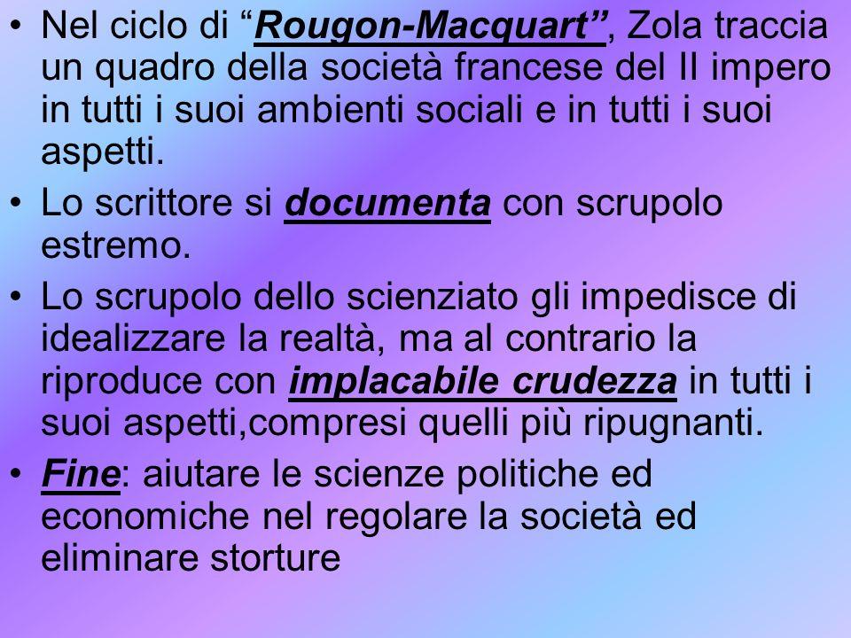 Nel ciclo di Rougon-Macquart , Zola traccia un quadro della società francese del II impero in tutti i suoi ambienti sociali e in tutti i suoi aspetti.