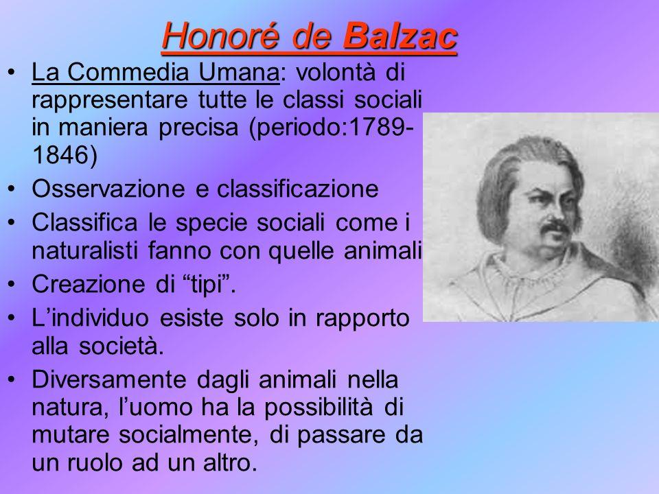 Honoré de Balzac La Commedia Umana: volontà di rappresentare tutte le classi sociali in maniera precisa (periodo:1789-1846)