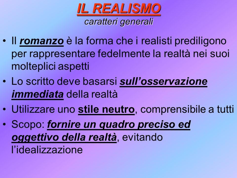 IL REALISMO caratteri generali
