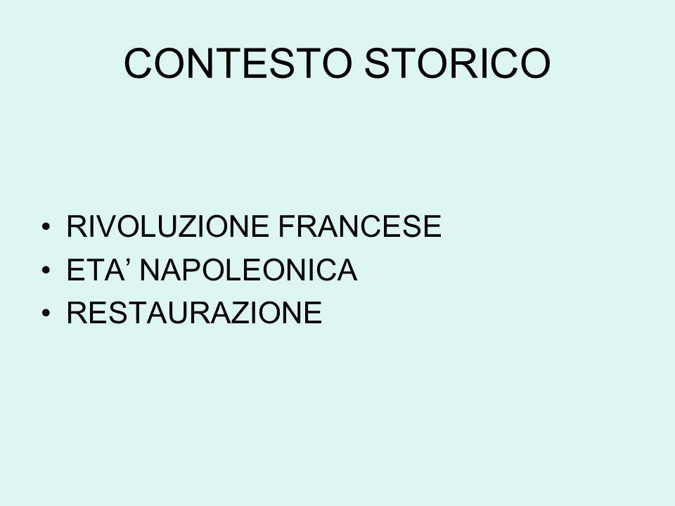 CONTESTO STORICO RIVOLUZIONE FRANCESE ETA' NAPOLEONICA RESTAURAZIONE