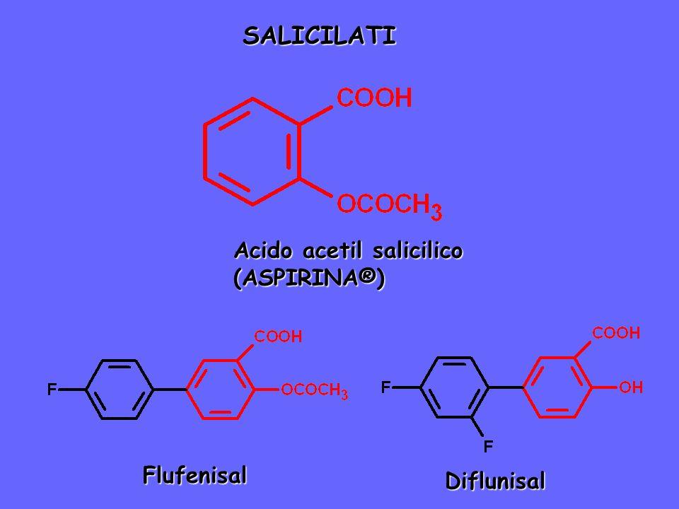 SALICILATI Acido acetil salicilico (ASPIRINA®) Diflunisal Flufenisal