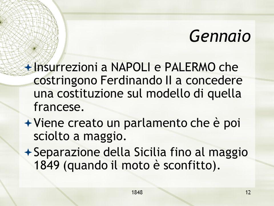 Gennaio Insurrezioni a NAPOLI e PALERMO che costringono Ferdinando II a concedere una costituzione sul modello di quella francese.