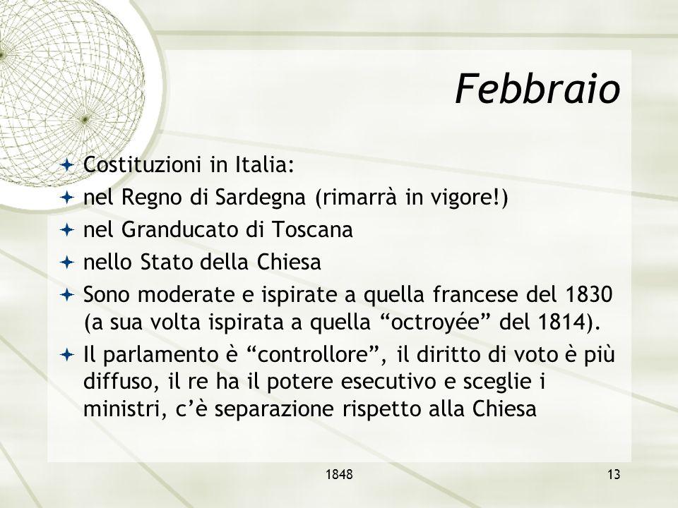 Febbraio Costituzioni in Italia: