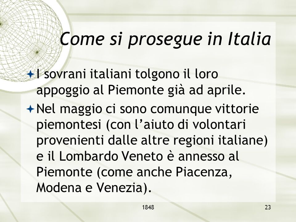 Come si prosegue in Italia