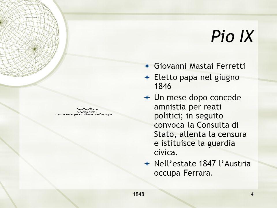 Pio IX Giovanni Mastai Ferretti Eletto papa nel giugno 1846