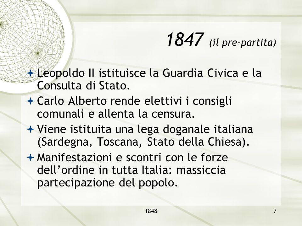 1847 (il pre-partita) Leopoldo II istituisce la Guardia Civica e la Consulta di Stato.