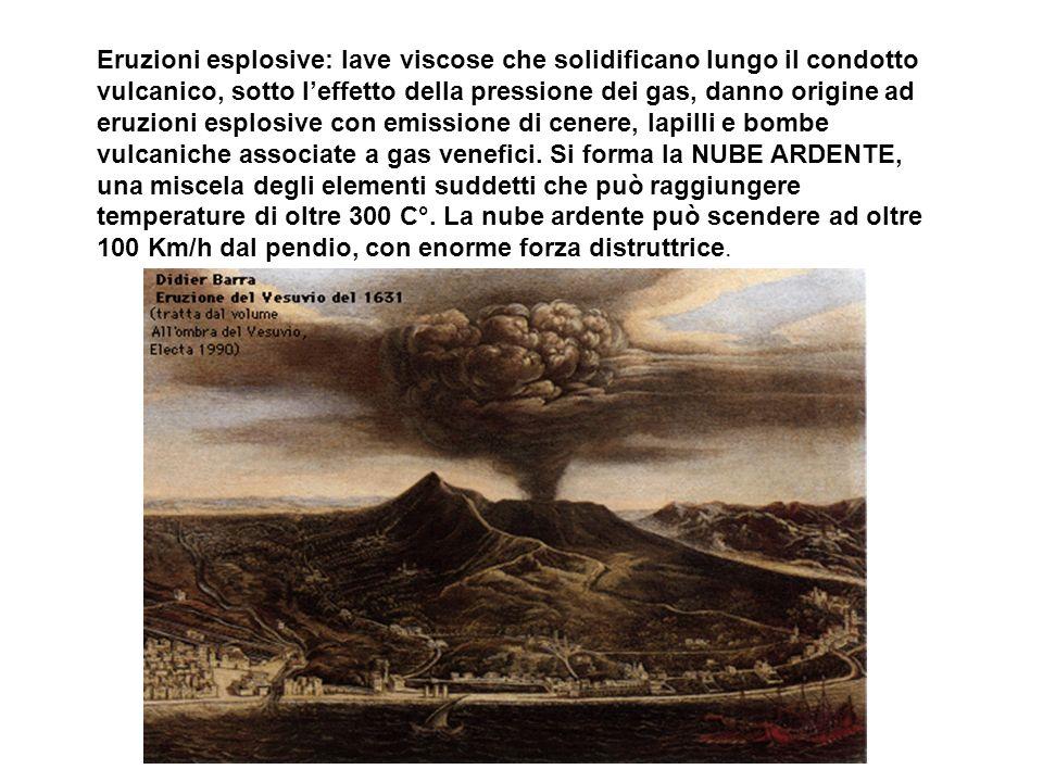 Eruzioni esplosive: lave viscose che solidificano lungo il condotto vulcanico, sotto l'effetto della pressione dei gas, danno origine ad eruzioni esplosive con emissione di cenere, lapilli e bombe vulcaniche associate a gas venefici.