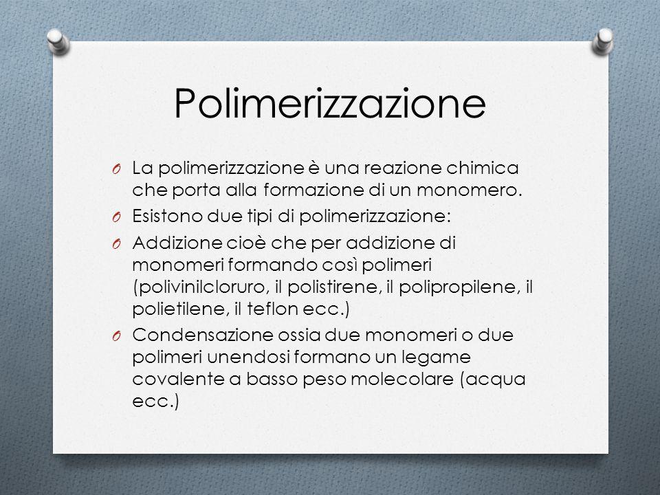 Polimerizzazione La polimerizzazione è una reazione chimica che porta alla formazione di un monomero.