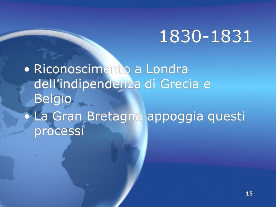 1830-1831 Riconoscimento a Londra dell'indipendenza di Grecia e Belgio