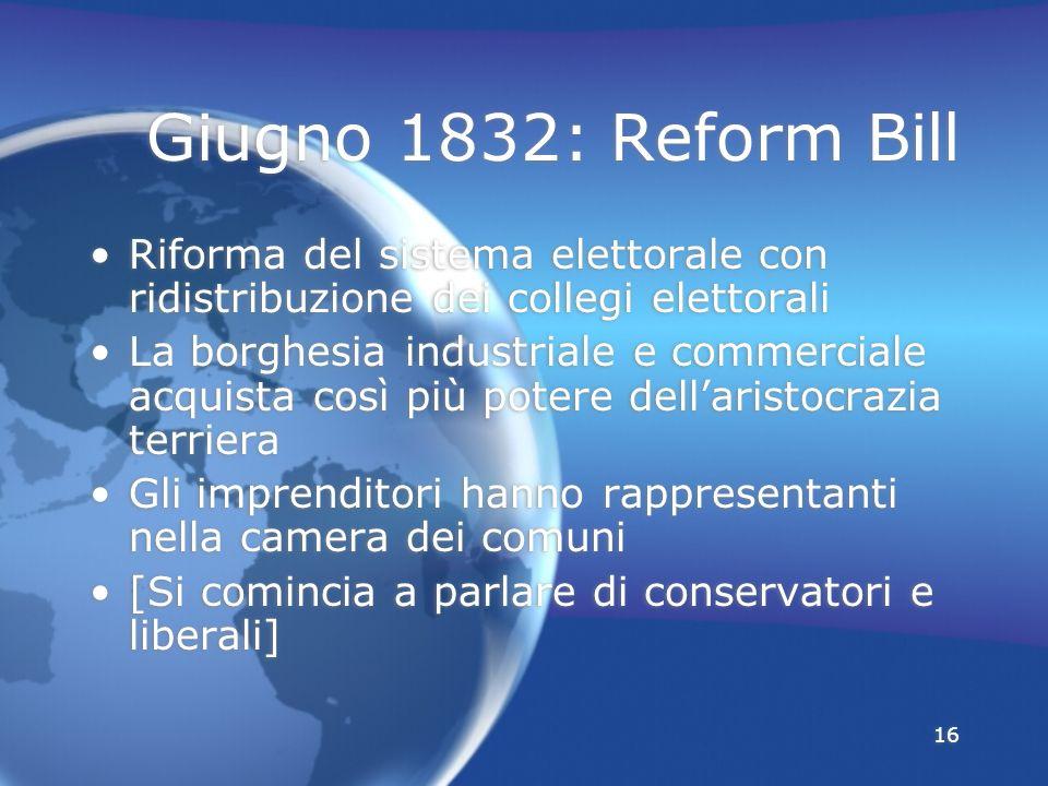 Giugno 1832: Reform Bill Riforma del sistema elettorale con ridistribuzione dei collegi elettorali.