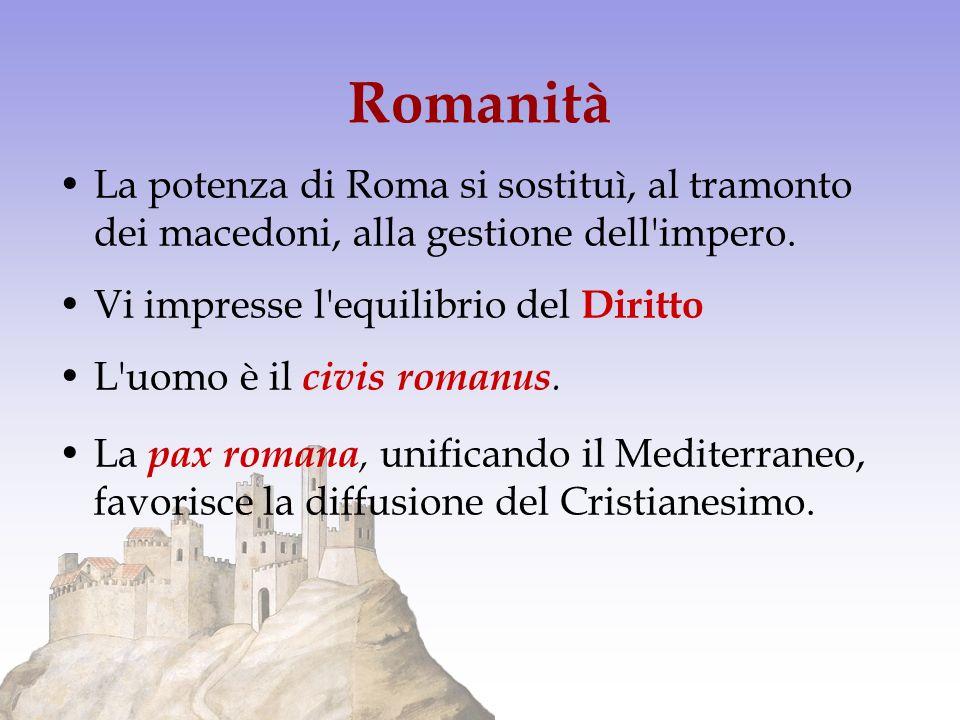 Romanità La potenza di Roma si sostituì, al tramonto dei macedoni, alla gestione dell impero. Vi impresse l equilibrio del Diritto.