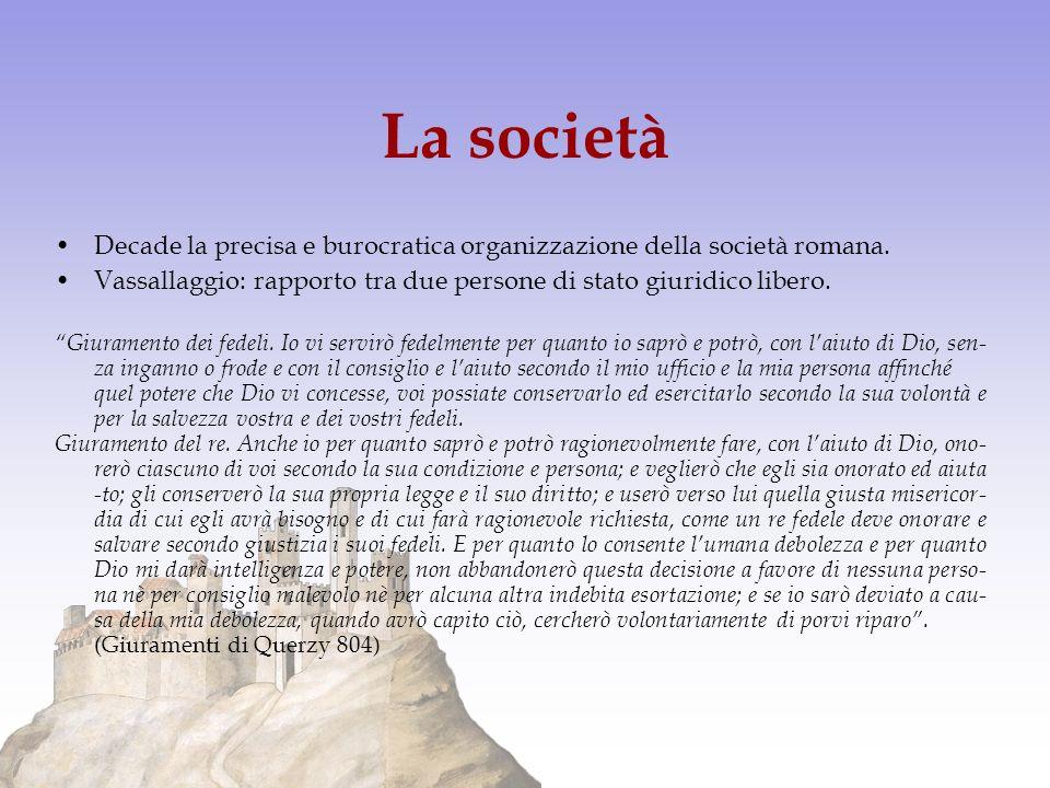 La società Decade la precisa e burocratica organizzazione della società romana. Vassallaggio: rapporto tra due persone di stato giuridico libero.