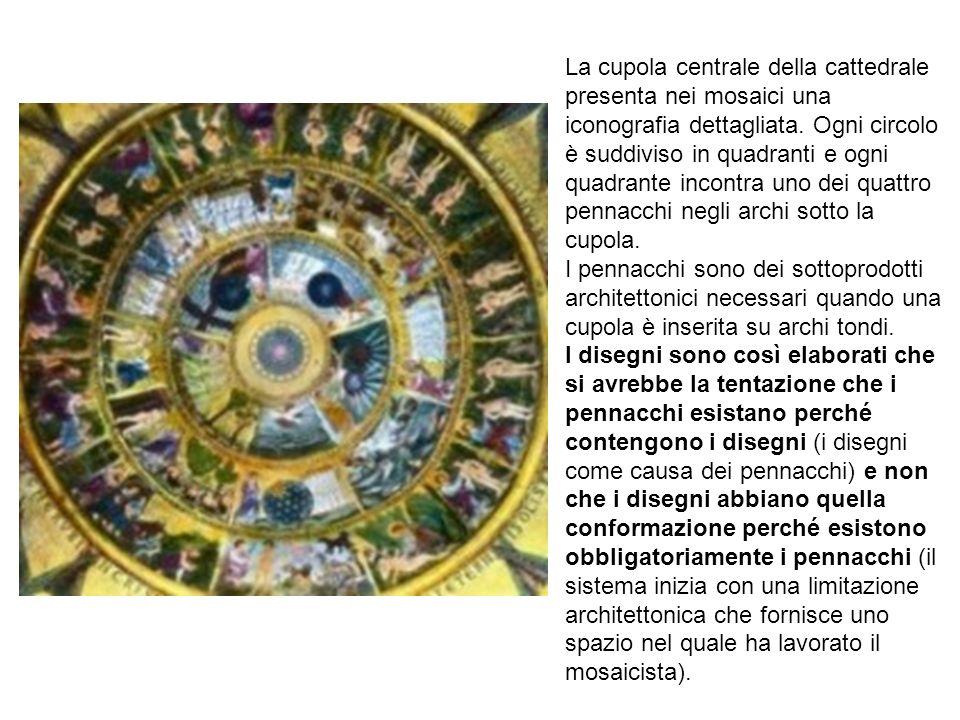 La cupola centrale della cattedrale presenta nei mosaici una iconografia dettagliata. Ogni circolo è suddiviso in quadranti e ogni quadrante incontra uno dei quattro pennacchi negli archi sotto la cupola.
