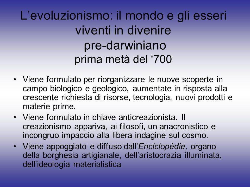 L'evoluzionismo: il mondo e gli esseri viventi in divenire pre-darwiniano prima metà del '700